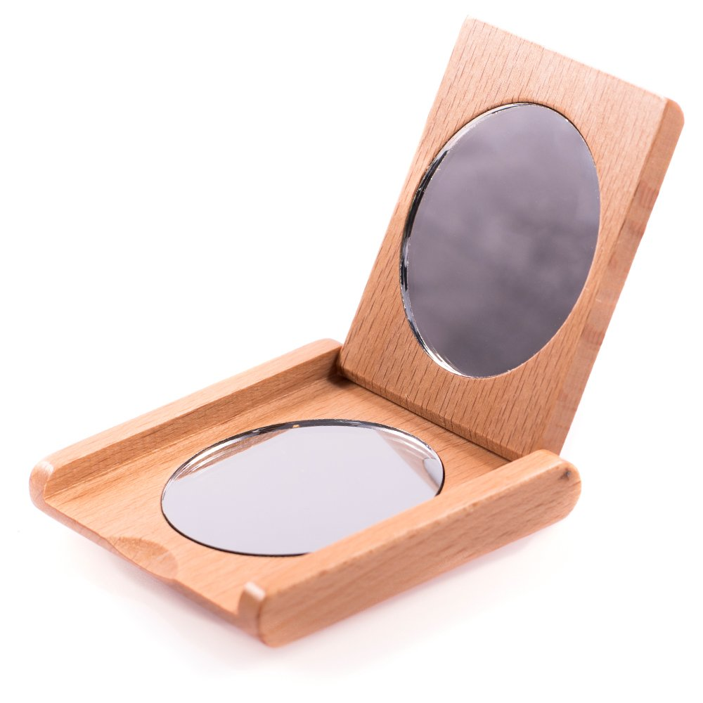 Pocket mirror in wood