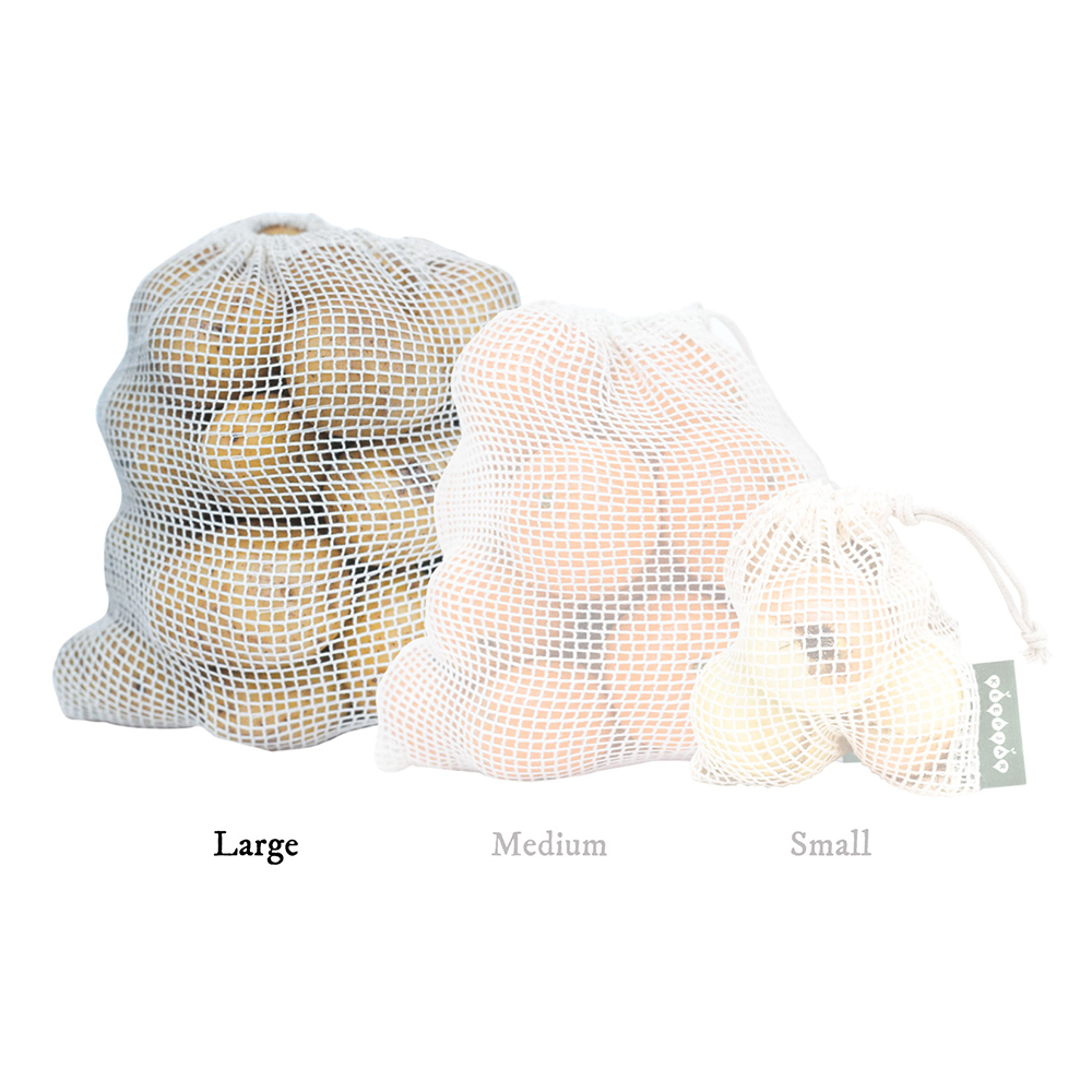 String bags in organic GOTS cotton -Large